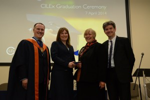 L-R: Stephen Gowland, CILEx President, Jenny Caprio and Anne Davies from Buckinghamshire County Council Legal Team and Noel Inge, Managing Director of CILEx Law School, the award's sponsor.