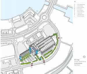 An artist impression of the potential HS2 rail college on the site at Lakeside - created by Bond Bryan Architects