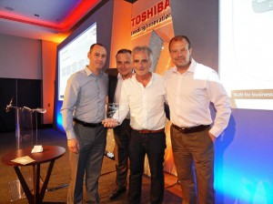 From left to right: Mark Byrne, Head of Corporate, Education & Public Sector, Toshiba; Nick Offin,  Head of Channel , Toshiba; Bordan Tkachuk, CEO, Viglen;  Neil Bramley,  Sales Director Northern Europe, Toshiba