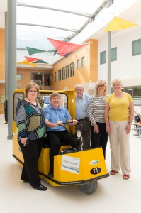 New hospital transporter buggy launch, March 31st 2014. Pictured left to right: assitant director of nursing and CQ Lesley Crosby, volunteer drivers Rolf Stobbart, Brian Rosan, Barbara Kelly and disability advisor Toni Tuthill