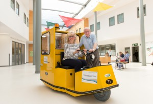 New hospital transporter buggy launch, March 31st 2014. Pictured are volunteer drivers Brian Rosan and Barbara Kelly